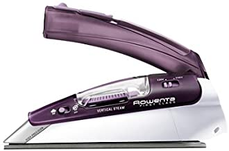 Rowenta DA1560 Travel-Ready 1000-Watt Compact Steam Iron Stainless Steel Soleplate 120-Volt and 240-Volt, 200-Hole, Purple