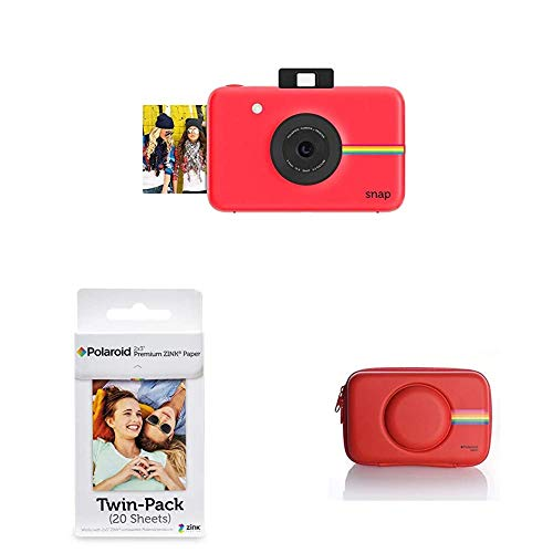 Polaroid Snap - Cámara Digital instantánea, Fotos de 5 x 7.6 cm, Rojo + Polaroid Premium Zink Papel Fotografico (Paquete de 20 Hojas) Mint, 5 x 7.6 cm + Polaroid Carcasa de Silicona para cámara