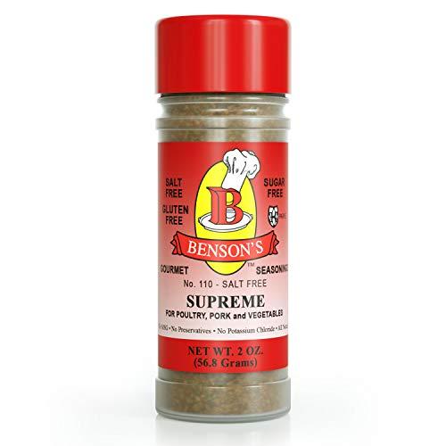 Bensons - Supreme Garlic and Herb Seasoning - Salt-Free, Sugar-Free, Gluten-Free, No MSG, No Preservatives, No Potassium Chloride - 19 Herbs, Spices and Vegetables Seasoning Blend
