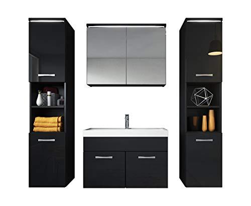 Badezimmer Badmöbel Set Paso XL LED 80 cm Waschbecken Hochglanz Schwarz Fronten - Unterschrank 2x Hochschrank Waschbecken Möbel
