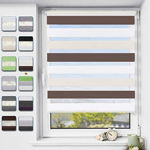 Buseu Doppelrollo klemmfix ohne Bohren Duo Rollo für Fenster,lichtdurchlässig und verdunkelnd Innenrollo Weiß-beige-braun 95x120cm(BxH)