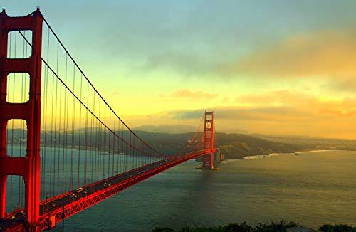 Bilderdepot24 Fototapete selbstklebend Golden Gate Bridge im Nebel - 360x270 cm - Wandposter Tapete Motivtapete - Brücke Hängebrücke