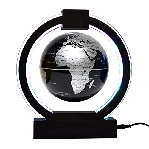Whinop 6 Pulgadas Bola Mundo Flotante con Luces Color LED,Gris Globo Terraqueo Flotante Magnetico para Decoración del Hogar, Oficina, Regalos Navideños Únicos, Luz Nocturna