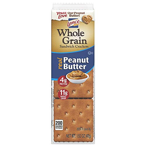 Lance Whole Grain Peanut Butter Crackers - 3 Boxes of 8 Individual Packs