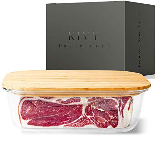 KIVY® Glas Frischhaltedose [2260ml] – Auflaufform & Aufschnittbox in Einem – Wurstbox für den Kühlschrank – Ideal als kleine Lasagneform für 2-3 Personen – Glasbehälter mit Deckel – Käseglocke Glas