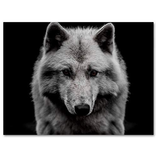 Vockgeng Wandkunst für Wohnkultur Schwarzer weißer Wolf Bunter Ölgemälde-Plakat-Druck auf Leinwand-Wandkunstdekoration gestreckte und gerahmte Malerei 35x50 cm