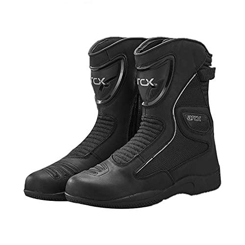 Sebasty Zapatos de Ciclismo Negros de Piel de Vaca,Equipo de Equitación,Botas de Carreras de Motos para Hombres y Mujeres,Zapatos de Motocicleta Impermeables de Gran Tamaño,Black-43