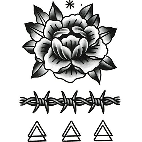 YZFCL Parte posterior de la mano dedo marea negro oscuro tatuaje pegatinas impermeable hombres larga flor brazo no es permanente ins estilo femenino personalidad pegatinas