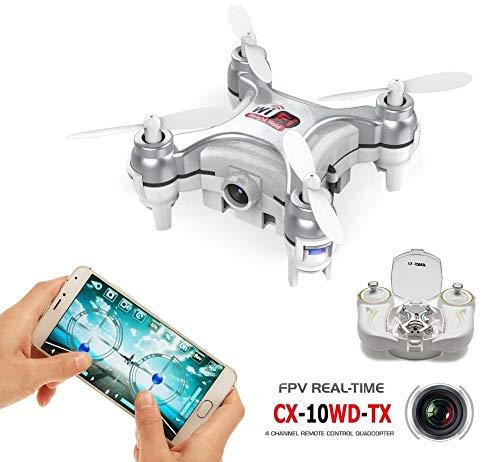 RONSHIN Cheerson CX-10WD-TX 2.4GHz 4CH 6-Axis WiFi FPV Quadcopter 3D Eversion Mini Drone con Fotocamera 0.3MP Argento con Telecomando