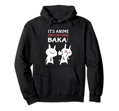 felpa uomo anime Giapponese Baka Rabbit It's Anime Not Cartoons Baka Schiaffo Felpa con Cappuccio