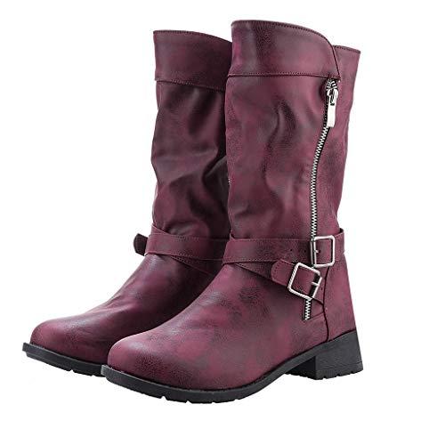 MOTOCO Damen Stiefel Winter Warme Stiefel Mit Reißverschlussknopf Leder Motorradstiefel Kampfstiefeletten mit Nieten Low Block Schuhe(Braun,35 EU)