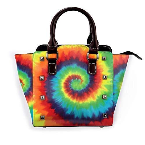 Colorful Rainbow Circle Women'S Rivet Shoulder Bag Large Capacity Handbags Crossbody Satchel Bag With Shoulder Strap Adjustable Handle