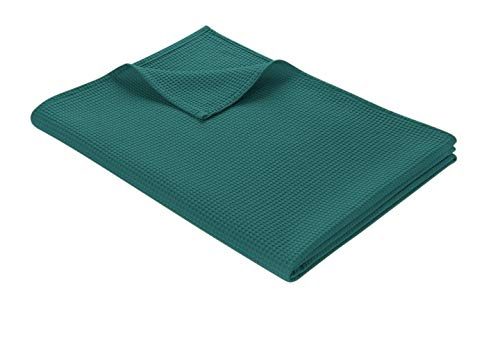 WOHNWOHL Tagesdecke 150 x 200 cm • Waffelpique leichte Sommerdecke aus 100prozent Baumwolle • Luftige Sofa-Decke vielseitig einsetzbar • Leicht zu pflegene Wohndecke • Baumwolldecke Farbe: Petrol