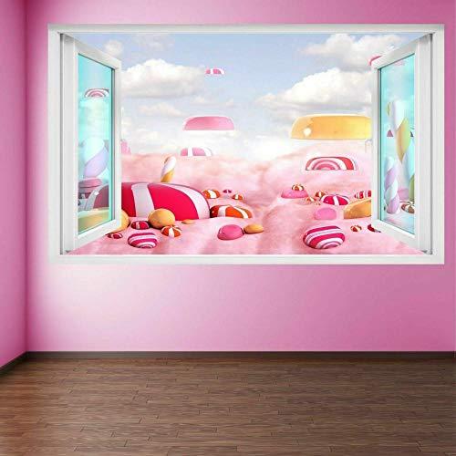 Pegatinas de pared Candy Land Wall Art Stickers Mural Calcomanía Cafe shop Hogar Cocina Decoración Póster Arte 3D Mural 50x70cm