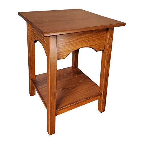 2-Tier Side Table | Fully Assembled Square Wooden End Tables with Storage Shelf Amish Furniture for Living Room Home Decor (Cherry)