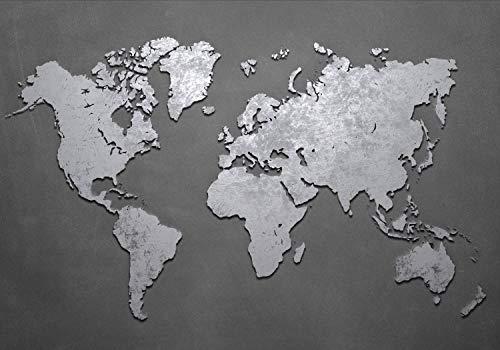 wandmotiv24 Fototapete Welt-karte metallisch XL 350 x 245 cm - 7 Teile Fototapeten, Wandbild, Motivtapeten, Vlies-Tapeten Beton, Grau, 3D M1442