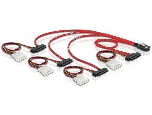 DeLock Kabel Mini SAS SFF-8087 > 4 x SAS SFF-8482 + Power 0, 5 m