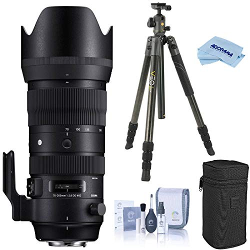 Sigma 70-200mm F2.8 DG OS HSM Sports Telephoto Zoom Lens for Canon EF/EF-S Mount, EOS DSLR Cameras, Bundle with Vanguard VEO 2 264CB Carbon Fiber Travel Tripod with BH-50 Ball Head, Cleaning Kit