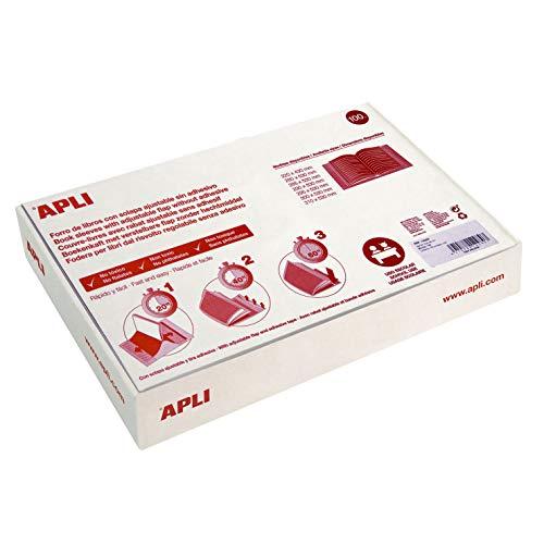 APLI 12280 - Forro de libros de PVC con solapa ajustable. Formato caja de 100 u. 130 µ tamaño 29 x 53 cm