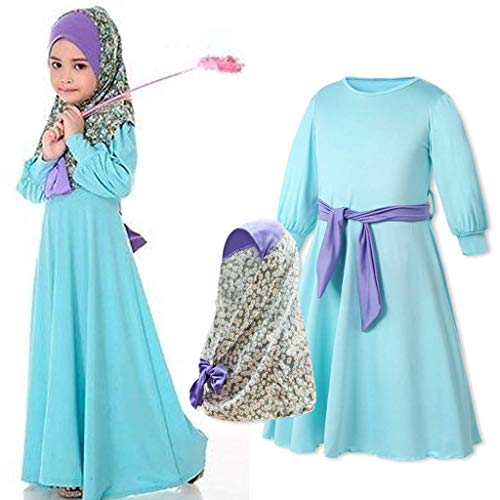 ZALA Baby Mädchen Muslimische Kleider Kleinkind Blau Länge Kleid Mit Kopftücher Lange Ärmel Prinzessin Kleid Abaya Robe Länge Kleid Islamische Kleidung (1,100?3-4years?)