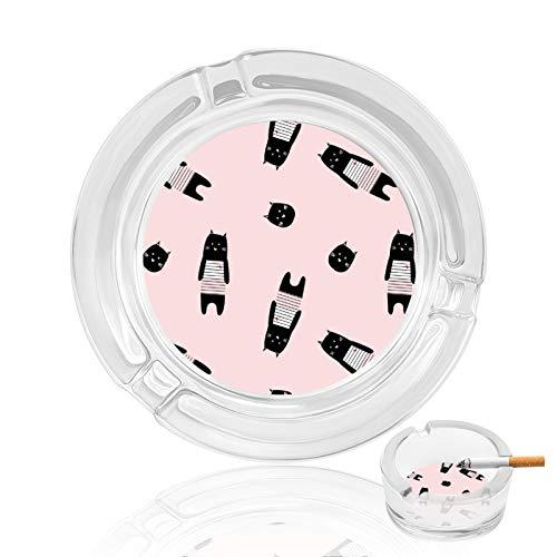 Cenicero de cristal, color rosa, negro, para el hogar, interior y exterior, para coche, bandeja de cenizas, resistente, ideal como regalo para el padre, fumadores, decoración del patio