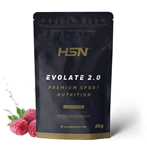 Aislado de Proteína de Suero de HSN Evolate 2.0 | Whey Protein Isolate | Proteína CFM + Enzimas Digestivas (Digezyme) + Ganar Masa Muscular | Vegetariana, Sin Gluten, Sin Soja, Frambuesa, 2Kg
