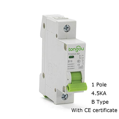 Curve B Type 1 Pole 1A 6A 10A 16A 25A 32A 40A 63A MCB 18mm Mini Circuit Breaker 4.5KA AC 110V/230V/400V With CE Certificate-1P_B6