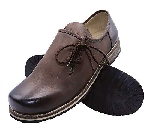 Trachtenschuhe Haferlschuhe Trachten Schuhe Glattleder braun Antik-Leder glatt Herren Schnürschuhe Lederschuhe Halbschuhe Herrenschuhe für Lederhose oder Anzug, Größe:46