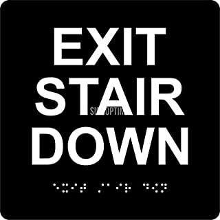 ADA EXIT Stair Down, 6'x6', Braille Grade II,Tactile Letters, 3M Double Sided Tape (Black)