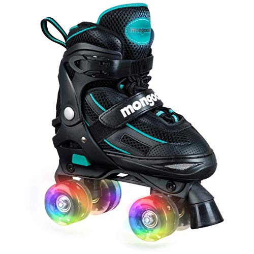 Mongoose Roller Skates for Girls Adjustable with Light Up Wheels Beginner Inline Skates Fun Illuminating for Kids Boys and Girls, Black