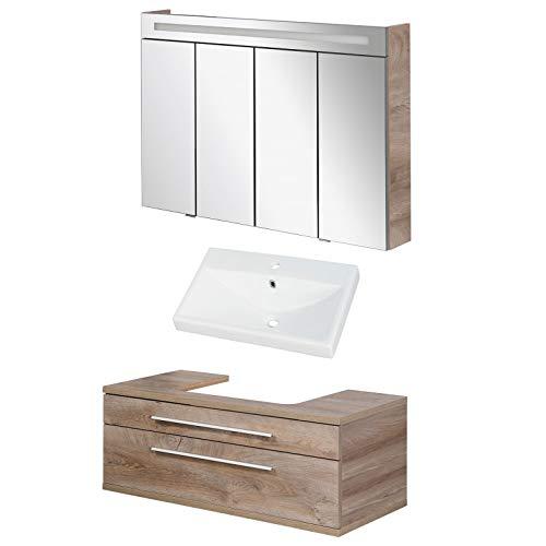 FACKELMANN braunes Badmöbel Set Stanford 3-TLG. mit Waschtisch Unterschrank hängend & Keramikbecken 110 cm & LED Spiegelschrank