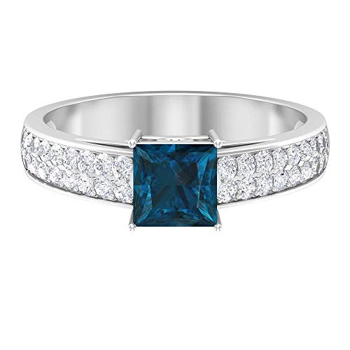 1.50 CT Princess Cut London Blue Topaz Engagement Ring, Moissanite Accent Ring (AAA Quality), 14K White Gold, Size:UK W