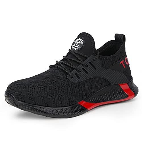 [AONEGOLD] 安全靴 作業靴 スニーカー 軽量 先芯入り ケブラー 耐摩耗 耐滑ソール メンズ ワークマン 黒 作業 靴 仕事 工事現場 疲れない おしゃれ あんぜん靴 男女兼用 (ブラック 24.0cm)