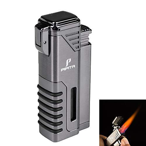 PIPITA Zigarren Feuerzeuge Winddicht Sturmfeuerzeug 4 Taschenlampe Jet Rot Flammen Gas Nachfüllbar Metall Feuerzeuges mit Bohrer (Verkauft ohne Gas)