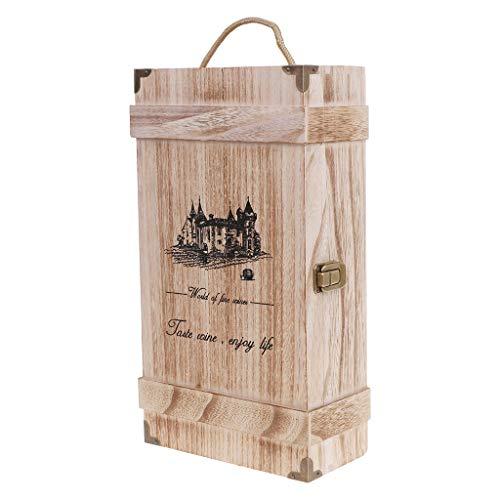 Xuebai Vintage Wood 2 Caja de Botella de Vino Tinto Caja de Almacenamiento Caja de Almacenamiento Soporte de exhibición Fiesta de cumpleaños Caja de Botella de Vino