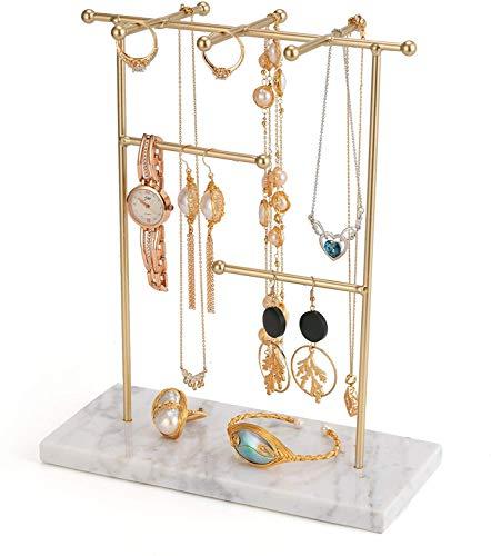 QILICZ Soporte para joyas, diseño de árbol de joyas, mármol, organizador de joyas para collares, pendientes, anillos, collares, relojes y pulseras