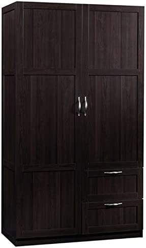 Pemberly Row Traditional Style Wardrobe Armoire, Storage Cabinet with Doors in Cinnamon Cherry