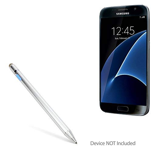 Caneta Stylus para Samsung Galaxy S7, BoxWave [AccuPoint Active Stylus] Estilo Eletrônico com ponta ultrafina para Samsung Galaxy S7 - Prata metálica