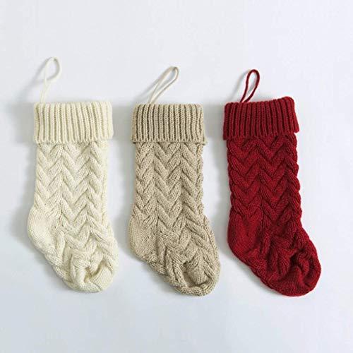JIAL 3PS Socke Weihnachten Strickstrümpfe Dekor Festival Geschenk Tasche Kamin Weihnachtsbaum Hängende Ornamente Dekor Rot Weiß Weihnachtssocke Chongxiang