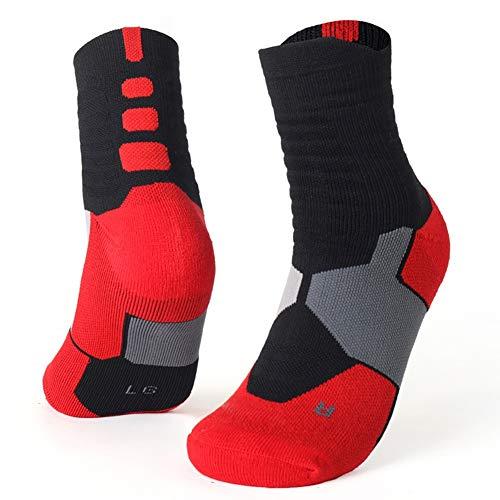 Los nuevos hombres térmicas calcetines deportivos de ciclo al aire libre funcionamiento del baloncesto Senderos de invierno Basket Tenis Deportes antideslizantes calcetines de algodón ( Color : Rojo )