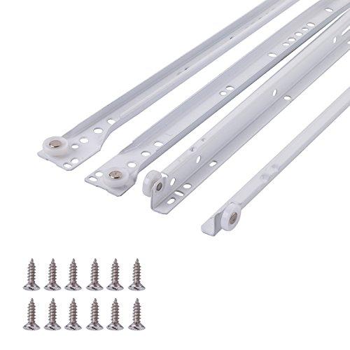 Amazon Basics - Guías correderas para cajones, tipo europeo, 35,6 cm, revestimiento blanco en polvo - paquete de 2