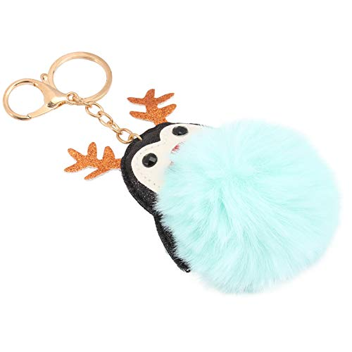 Holibanna Pom Pom Keychains Plush Cartoon Penguin Antlers Key Ring Fluffy Ball Key Chian Hanging Pendant Charms for Xmas Gifts Bag Filler Purse Car Key Backpack Decor