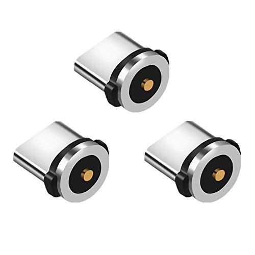 Vialex Paquete de 3 adaptadores/Conector/Cabezal/Enchufe de Puntas magnéticas Tipo C, Compatible con Samsung Galaxy S10 + Note S9 S8, LG G5 G6, Sony, Moto y más Dispositivos USB C, sin Cable