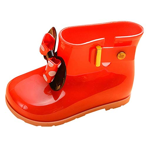 Toddler Baby Girls Boys Kids Rain Shoes for 1-7 Years Old,Child Bowknot Dot Rubber Waterproof Rain Boot Galoshes (2-3 Years Old, Red)