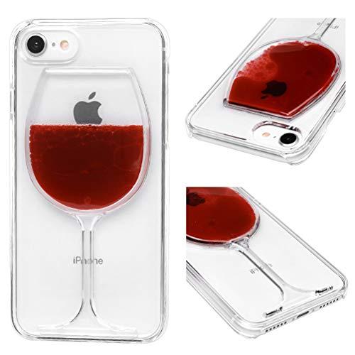 ToneSun Funda para iPhone 7 / iPhone 8 con purpurina, suave, TPU con arena flotante, goma de silicona, cubierta trasera antigolpes, funda ultrafina - Copa de vino tinto