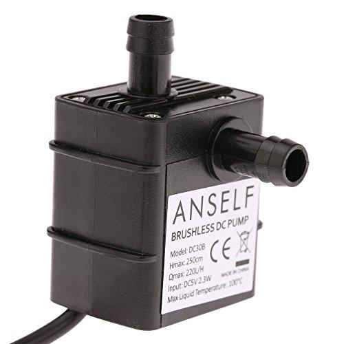 Ogquaton Anself Ultra silencioso Mini USB DC5V 2.3W Micro Bomba de Aceite de Agua sin escobillas Fuente Sumergible a Prueba de Agua Acuario Que circula 220L / H Elevación 250cm Duradero y útil