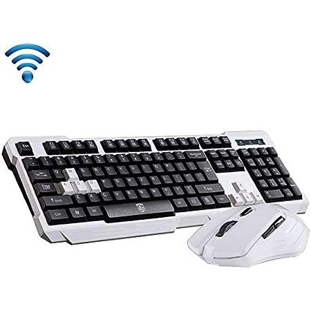 UrChoiceLtd® Delog V60 - Juego de teclado para videojuegos (teclado inalámbrico USB ergonómico y USB 2,4 GHz, 1000/1600 DPI, 6 botones, USB, ...