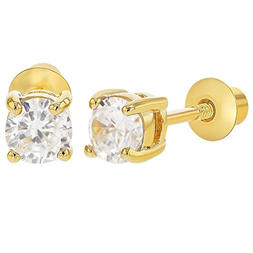 Gold Plated Clear Cubic Zirconia Safety Screw Back Earrings for Babies, Infants & Toddlers 3mm - Lightweight & Safe for Babies - Great Jewelry Gift Idea For Baby Girls