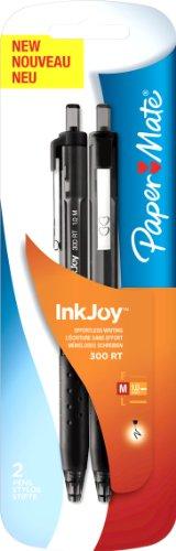 Papermate InkJoy 300RT Kugelschreiber, mittlere Spitze 2 Stück schwarz