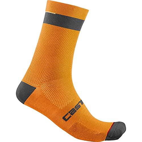 castelli Alpha 18 Sock Calcetines, Hombre, Naranja y Negro Brillante, XXL
